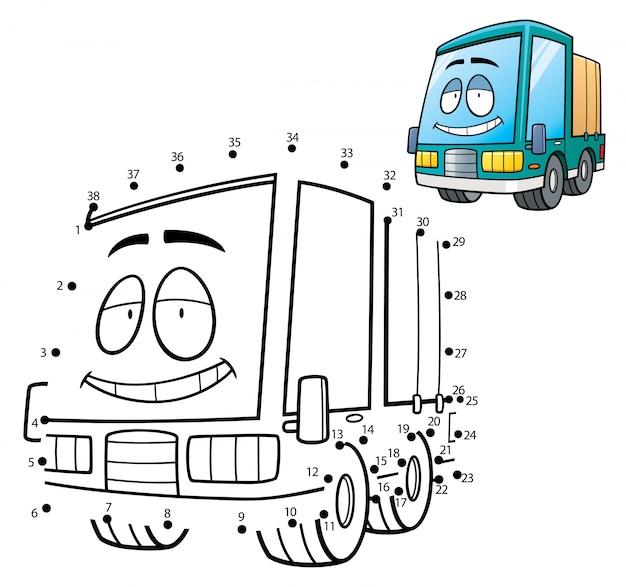 Gioco per bambini punto per punto camion