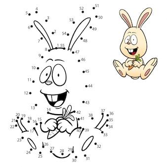 Gioco per bambini punto per punto coniglio