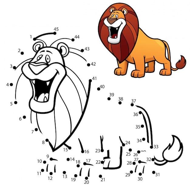 Gioco per bambini punto per punto leone