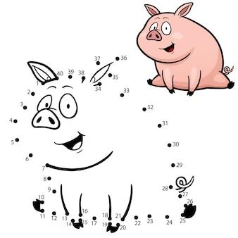 Gioco per bambini punto per punto maiale