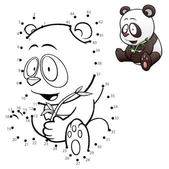 Gioco per bambini punto per punto panda