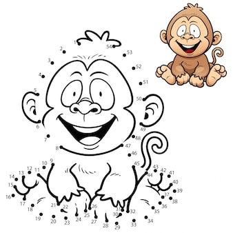 Gioco per bambini punto per punto scimmia