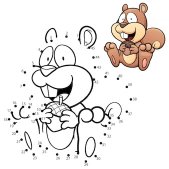 Gioco per bambini scoiattolo punto per punto