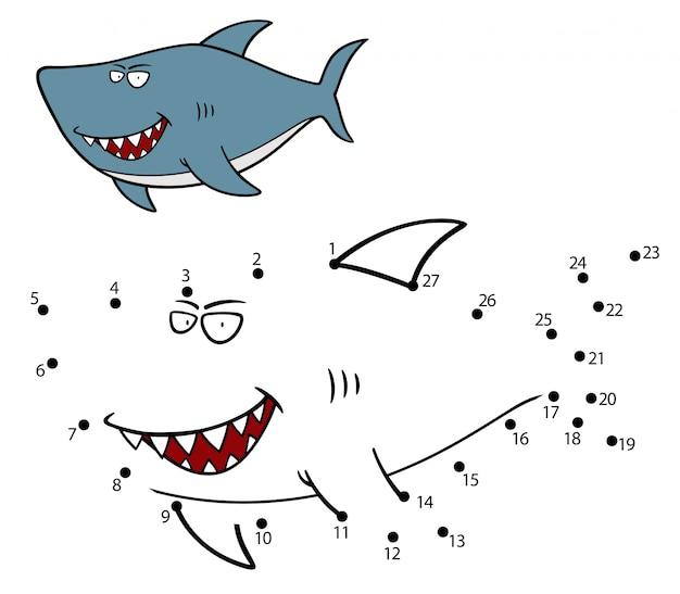 Gioco per bambini squalo punto per punto