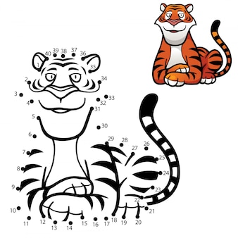 Gioco per bambini tigre punto per punto