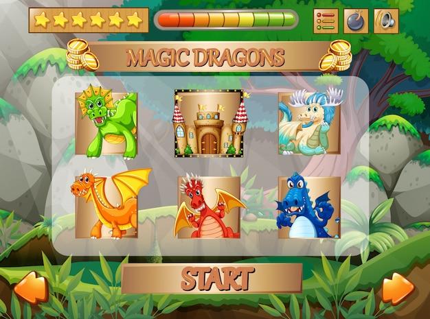 Gioco per computer con personaggi dei draghi