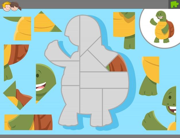 Gioco puzzle con tartaruga cartoon