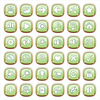 Gioielli con bottoni gui su luce verde.
