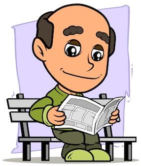 Giornale della lettura del carattere dell'uomo anziano del fumetto