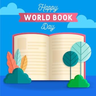 Giornale e piante felici del libro di mondo