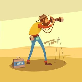 Giornalista in un deserto asciutto che fa le foto con l'illustrazione di vettore del fumetto della macchina fotografica