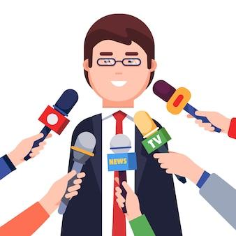 Giornalisti che prendono interviste da un politico