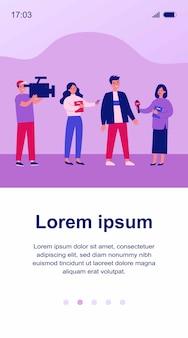 Giornalisti femminili con microfoni che intervistano illustrazione dell'uomo