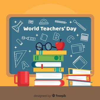 Giornata degli insegnanti del mondo piatto
