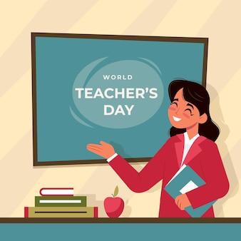 Giornata degli insegnanti di design piatto con la donna