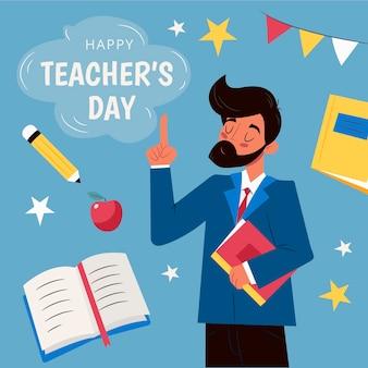 Giornata degli insegnanti disegnati a mano con l'uomo