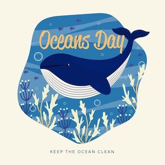 Giornata degli oceani disegnata a mano di balena carina