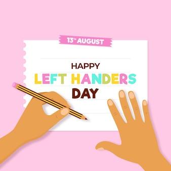 Giornata dei mancini con mani e penna
