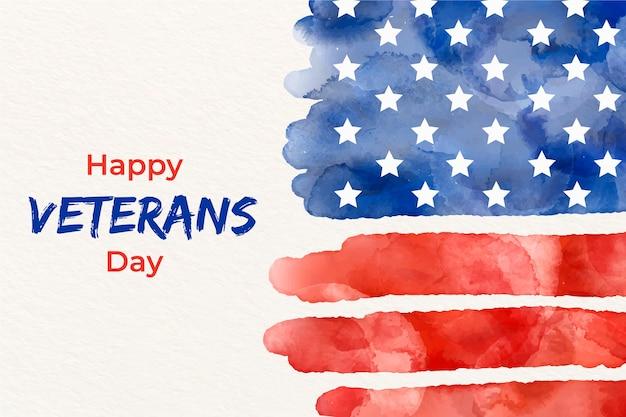 Giornata dei veterani con bandiera dell'acquerello