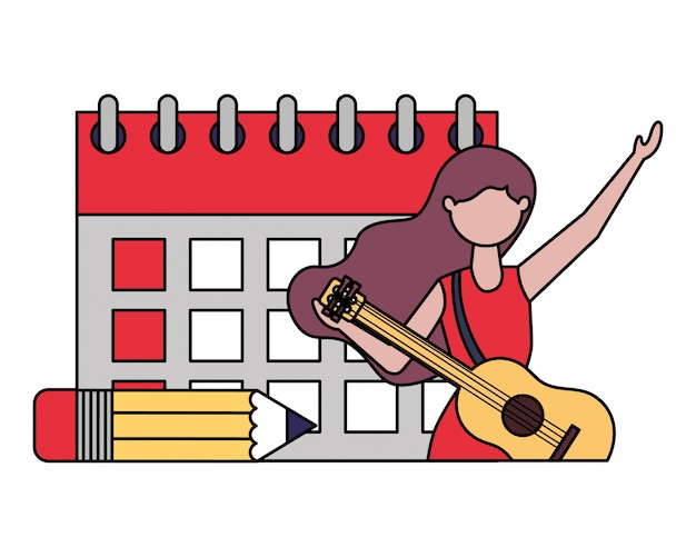 Giornata del lavoro del calendario donna musicista