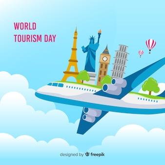 Giornata del turismo design piatto con punti di riferimento