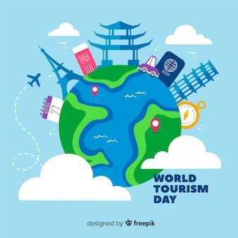 Giornata del turismo disegnato a mano con attrazioni turistiche