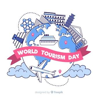 Giornata del turismo disegnato a mano con punti di riferimento
