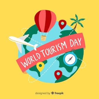 Giornata del turismo disegnato a mano mondo carino