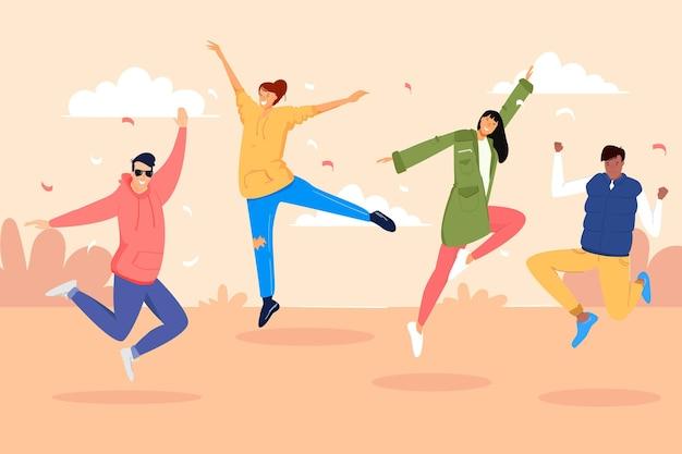 Giornata della gioventù con gente che salta