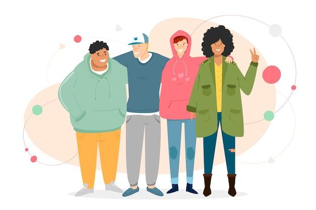 Giornata della gioventù con persone che abbracciano insieme