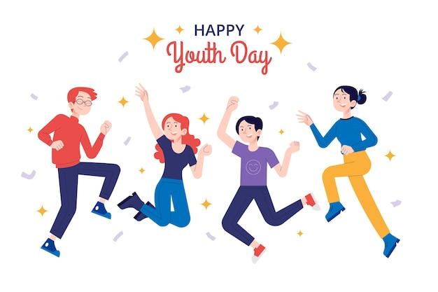 Giornata della gioventù disegnata a mano che salta persone