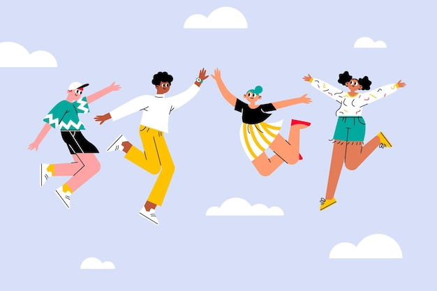 Giornata della gioventù disegnata a mano con persone che saltano