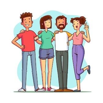 Giornata della gioventù disegnata a mano - la gente che abbraccia insieme