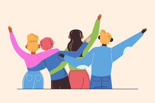 Giornata della gioventù piatta - persone che abbracciano insieme