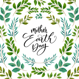 Giornata della terra madre dell'acquerello con fogliame