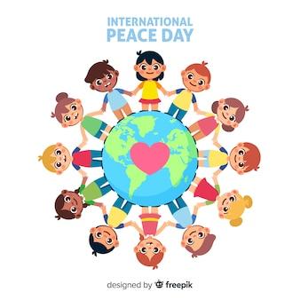 Giornata di pace piatta con i bambini