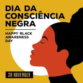 Giornata di sensibilizzazione nera design piatto
