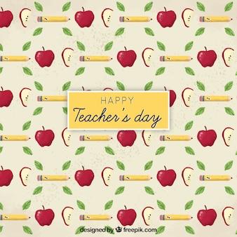Giornata felice dell'insegnante, modello con matite, mele e foglie