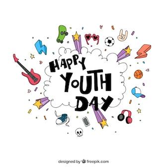 Giornata felice della gioventù sketch background