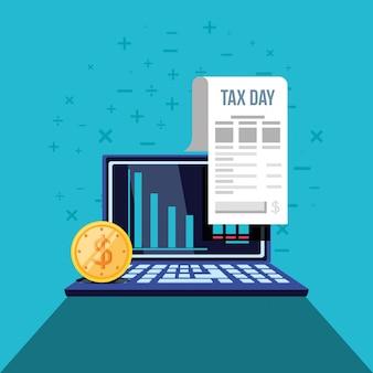 Giornata fiscale con computer portatile