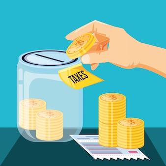 Giornata fiscale con vaso di risparmio