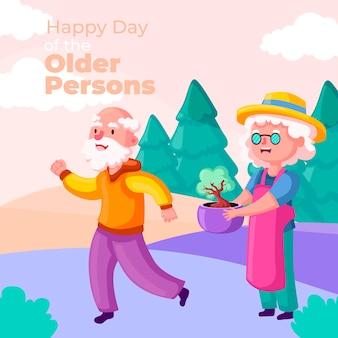 Giornata internazionale colorata dello sfondo delle persone anziane