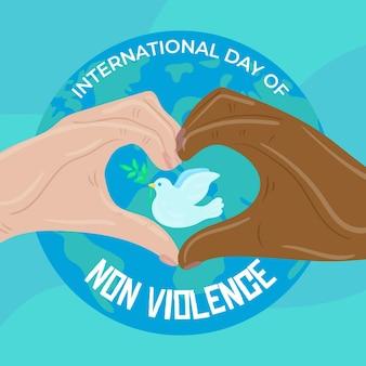 Giornata internazionale del concetto di non violenza disegnata a mano