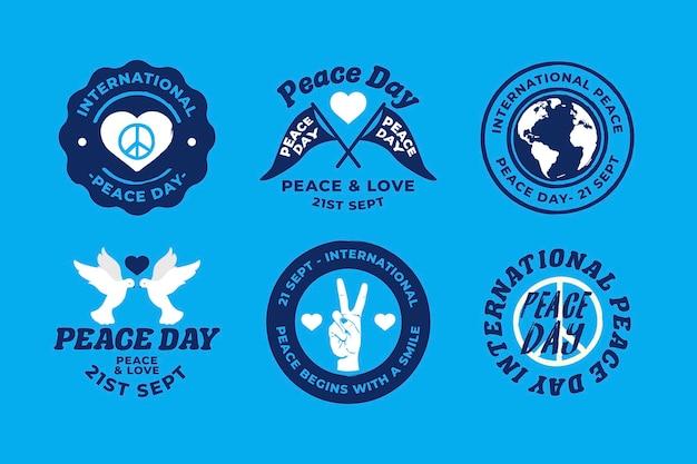 Giornata internazionale del design piatto di badge di pace
