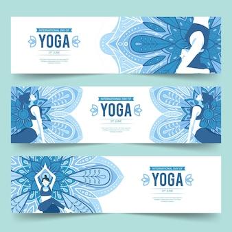 Giornata internazionale del design piatto di banner yoga