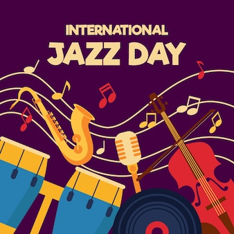 Giornata internazionale del jazz dal design piatto