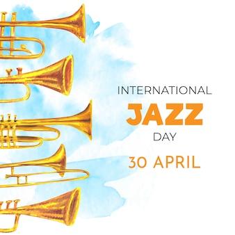 Giornata internazionale del jazz di disegno ad acquerello
