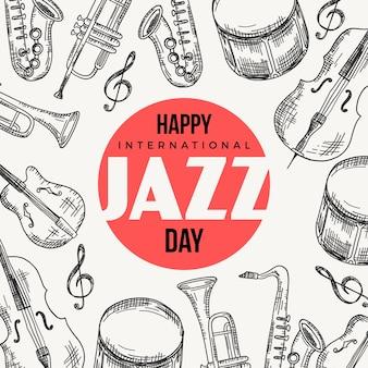 Giornata internazionale del jazz disegnata a mano
