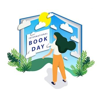 Giornata internazionale del libro con un grande libro celeste