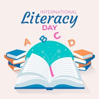 Giornata internazionale dell'alfabetizzazione con libri e lettere